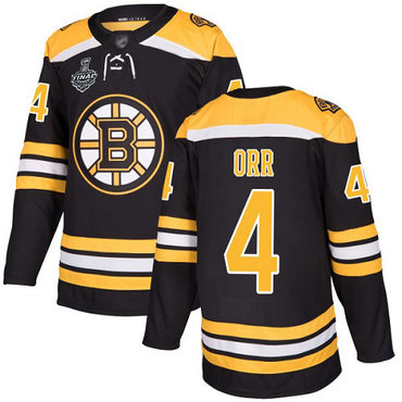 Men's Boston Bruins #4 Bobby Orr Black Home Authentic 2019 Stanley Cup Final Bound Stitched Hockey Jersey