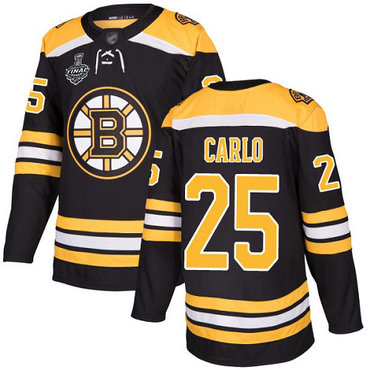 Men's Boston Bruins #25 Brandon Carlo Black Home Authentic 2019 Stanley Cup Final Bound Stitched Hockey Jersey