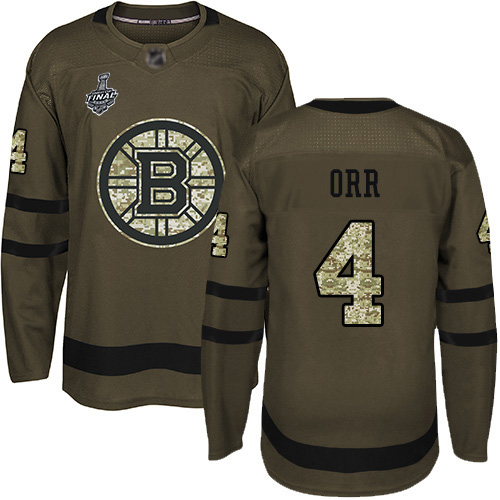 Men's Boston Bruins #4 Bobby Orr Green Salute to Service 2019 Stanley Cup Final Bound Stitched Hockey Jersey