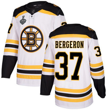 Men's Boston Bruins #37 Patrice Bergeron White Road Authentic 2019 Stanley Cup Final Bound Stitched Hockey Jersey