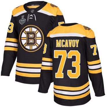 Men's Boston Bruins #73 Charlie McAvoy Black Home Authentic 2019 Stanley Cup Final Bound Stitched Hockey Jersey