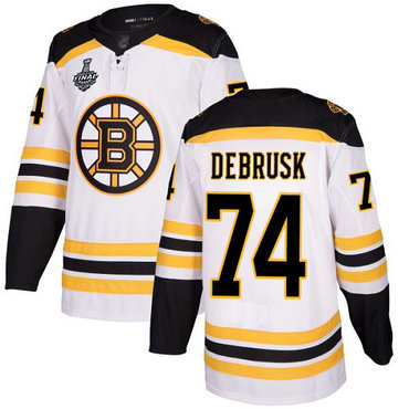 Men's Boston Bruins #74 Jake DeBrusk White Road Authentic 2019 Stanley Cup Final Bound Stitched Hockey Jersey
