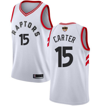 Raptors #15 Vince Carter White 2019 Finals Bound Women's Basketball Swingman Association Edition Jersey