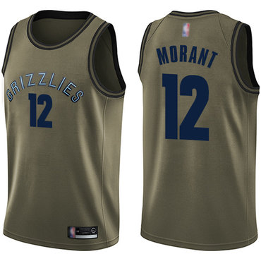 Youth Grizzlies #12 Ja Morant Green Youth Basketball Swingman Salute to Service Jersey