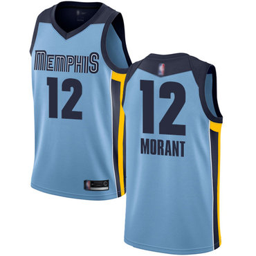 Youth Grizzlies #12 Ja Morant Light Blue Basketball Swingman Statement Edition Jersey
