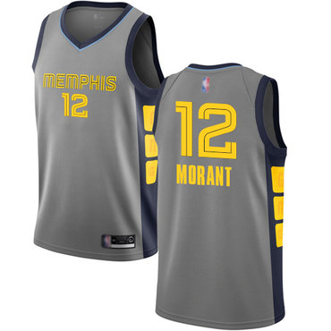 Youth Grizzlies #12 Ja Morant Gray Basketball Swingman City Edition 2018-19 Jersey