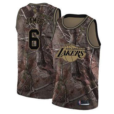 Youth Lakers #6 LeBron James Camo Basketball Swingman Realtree Collection Jersey