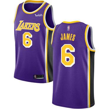 Youth Lakers #6 LeBron James Purple Basketball Swingman Statement Edition Jersey