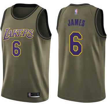 Youth Lakers #6 LeBron James Green Basketball Swingman Salute to Service Jersey