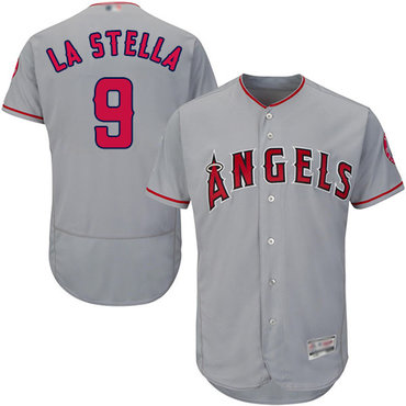 Angels of Anaheim #9 Tommy La Stella Grey Flexbase Authentic Collection Stitched Baseball Jersey