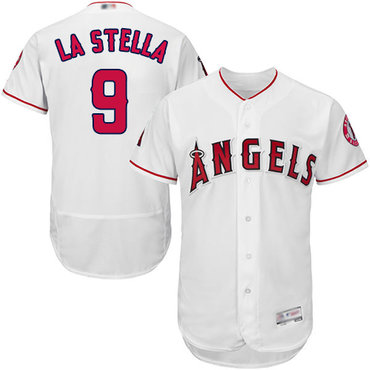 Angels of Anaheim #9 Tommy La Stella White Flexbase Authentic Collection Stitched Baseball Jersey