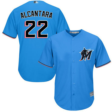 marlins #22 Sandy Alcantara Blue New Cool Base Stitched Baseball Jersey