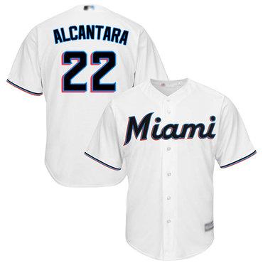 marlins #22 Sandy Alcantara White New Cool Base Stitched Baseball Jersey