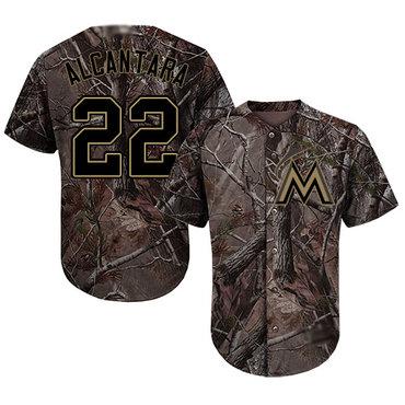 marlins #22 Sandy Alcantara Camo Realtree Collection Cool Base Stitched Baseball Jersey