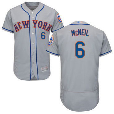 Mets #6 Jeff McNeil Grey Flexbase Authentic Collection Stitched Baseball Jersey