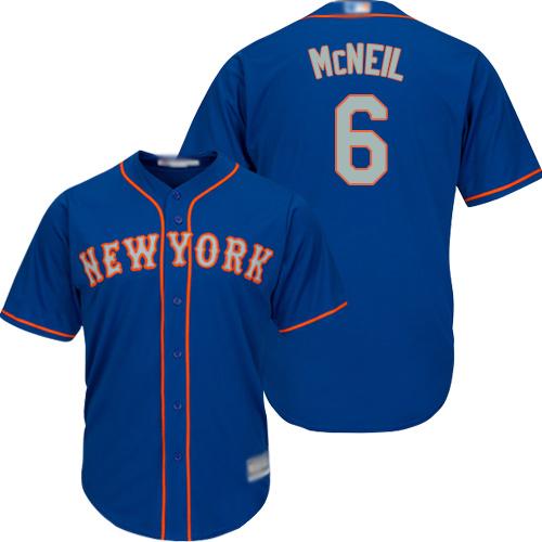 Mets #6 Jeff McNeil Blue(Grey NO.) New Cool Base Stitched Baseball Jersey