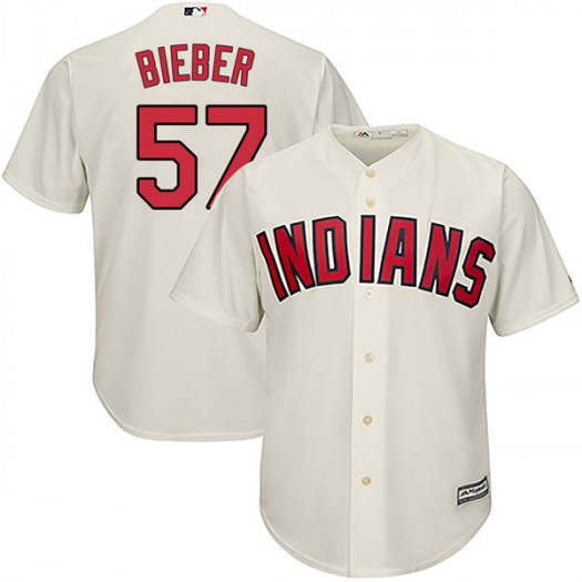 Men's Majestic #57 Shane Bieber Cleveland Indians Authentic Cream Cool Base Alternate Jersey