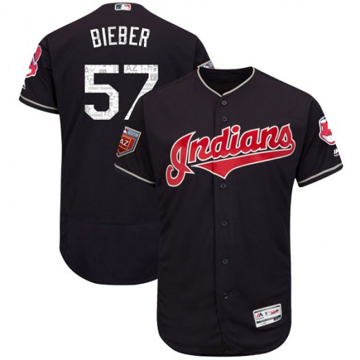 Men's Majestic #57 Shane Bieber Cleveland Indians Authentic Navy Flex Base 2018 Spring Training Jersey