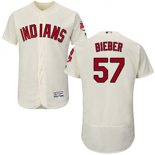 Men's Majestic #57 Shane Bieber Cleveland Indians Authentic Cream Flex Base Alternate Collection Jersey
