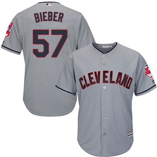 Men's Majestic #57 Shane Bieber Cleveland Indians Replica Gray Cool Base Road Jersey