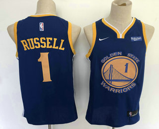 competitive price d199e 34368 Men's Golden State Warriors #1 D'Angelo Russell Blue 2019 ...