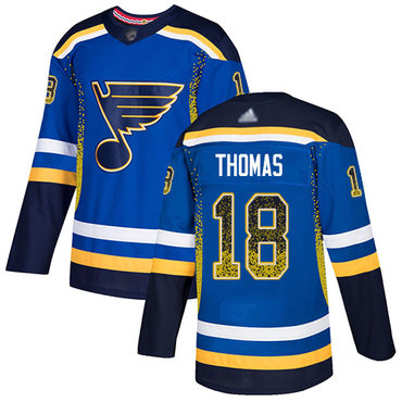 Blues #18 Robert Thomas Blue Home Authentic Drift Fashion Stitched Hockey Jersey