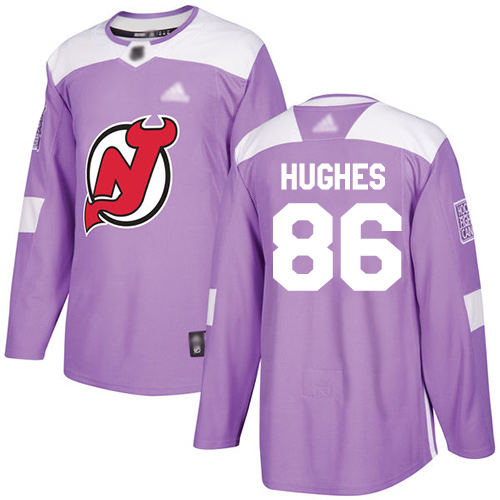 Devils #86 Jack Hughes Purple Authentic Fights Cancer Stitched Hockey Jersey