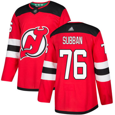 Devils #76 P. K. Subban Red Home Authentic Stitched Hockey Jersey