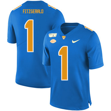 Pittsburgh Panthers 1 Larry Fitzgerald Blue 150th Anniversary Patch Nike College Football Jersey