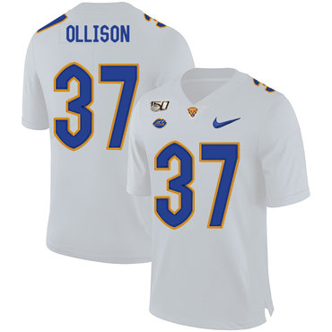 Pittsburgh Panthers 37 Qadree Ollison White 150th Anniversary Patch Nike College Football Jersey