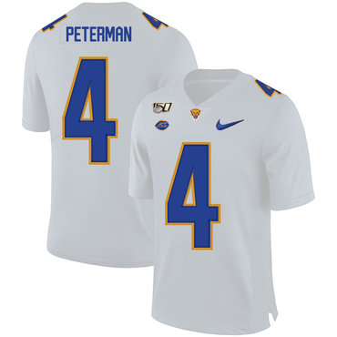Pittsburgh Panthers 4 Nathan Peterman White 150th Anniversary Patch Nike College Football Jersey