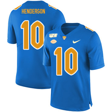 Pittsburgh Panthers 10 Quadree Henderson Blue 150th Anniversary Patch Nike College Football Jersey