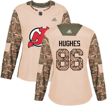Devils #86 Jack Hughes Camo Authentic 2017 Veterans Day Women's Stitched Hockey Jersey