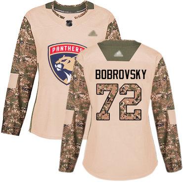 Panthers #72 Sergei Bobrovsky Camo Authentic 2017 Veterans Day Women's Stitched Hockey Jersey