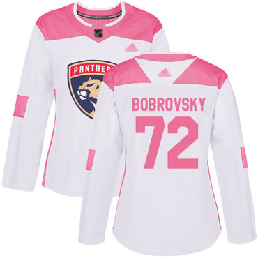 Panthers #72 Sergei Bobrovsky White Pink Authentic Fashion Women's Stitched Hockey Jersey
