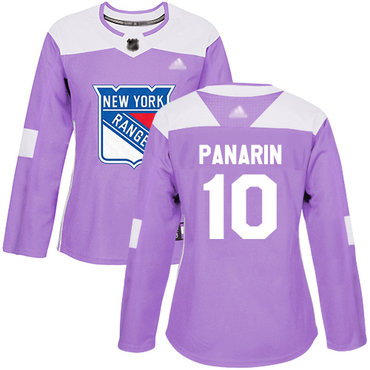 Rangers #10 Artemi Panarin Purple Authentic Fights Cancer Women's Stitched Hockey Jersey