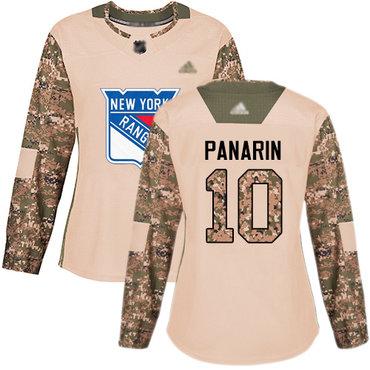 Rangers #10 Artemi Panarin Camo Authentic 2017 Veterans Day Women's Stitched Hockey Jersey