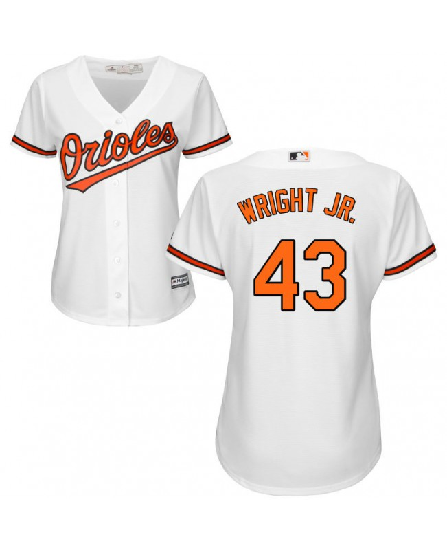 Women's Majestic Baltimore Orioles #43 Mike Wright Jr. Authentic White Home Cool Base Jersey