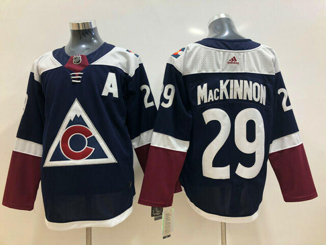 New AD Men's Colorado Avalanche #29 Nathan MacKinnon Hockey Dark Blue Jersey