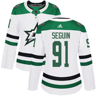 Stars #91 Tyler Seguin White Road Authentic Women's Stitched Hockey Jersey