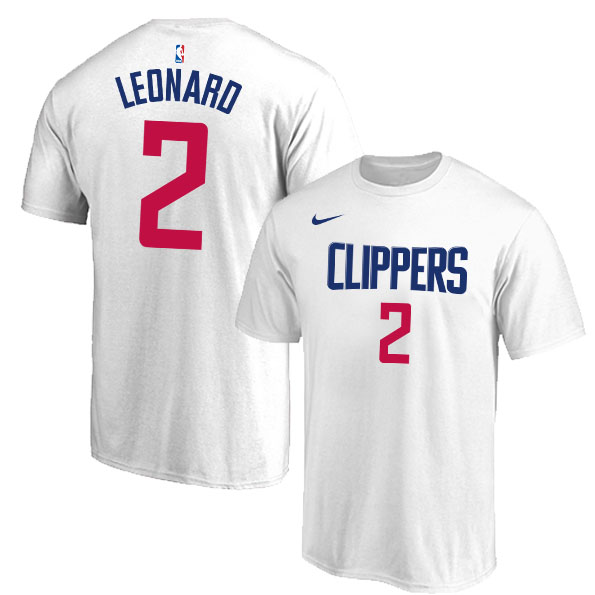 Los Angeles Clippers 2 Kawhi Leonard White Nike T-Shirt