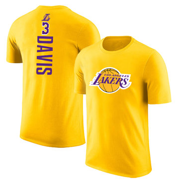 Los Angeles Lakers 3 Anthony Davis Yellow T-Shirt