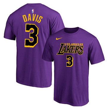 Los Angeles Lakers 3 Anthony Davis Purple City Edition Nike T-Shirt