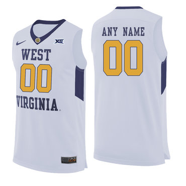 West Virginia Mountaineers White Men's Customized College Basketball Jersey