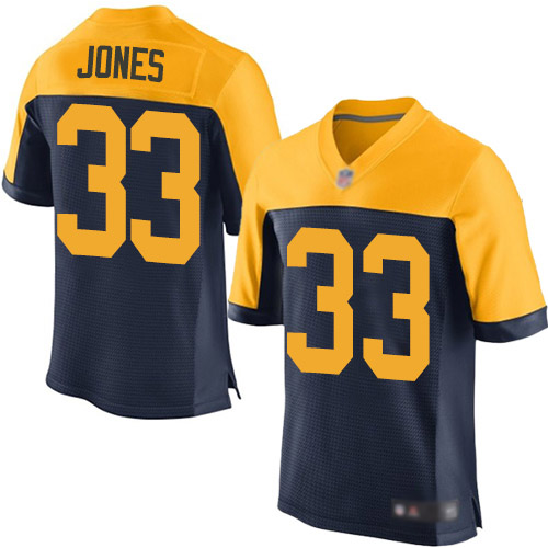 Men's Green Bay Packers #33 Aaron Jones Navy Blue Elite Football Alternate Jersey