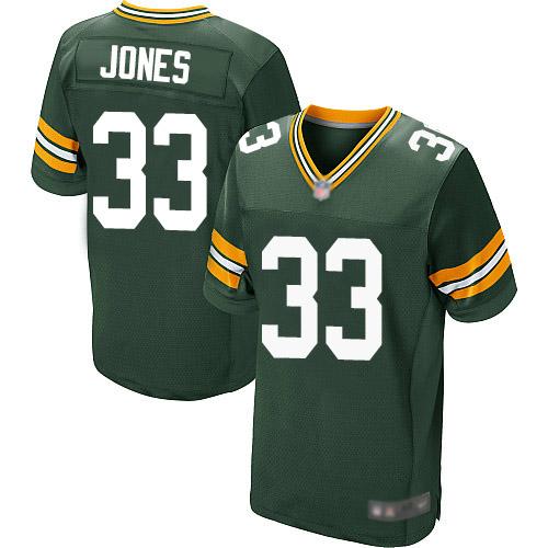 Men's Green Bay Packers #33 Aaron Jones Home Green Elite Football Alternate Jersey