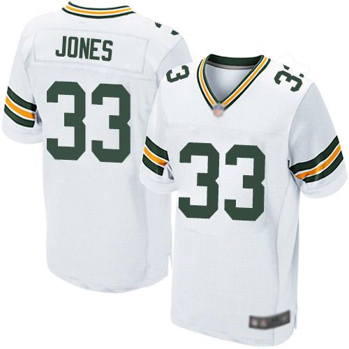 Men's Green Bay Packers #33 Aaron Jones Road White Elite Football Alternate Jersey