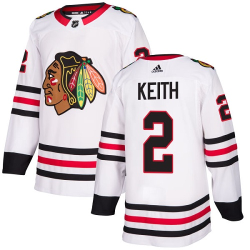 Men's Adidas Chicago Blackhawks #2 Duncan Keith White Road Authentic Stitched Hockey Jersey
