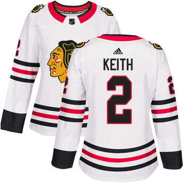 Blackhawks #2 Duncan Keith White Road Authentic Women's Stitched Hockey Jersey