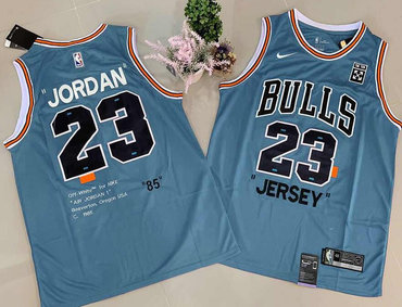Bulls 23 Michael Jordan Blue Commemorative Edition Basketball Jersey